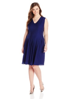 Anne Klein Women's Plus-Size Sheer Pique Degas Dress