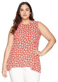 Anne Klein Women's Plus Size Sleeveless High Low Blouse
