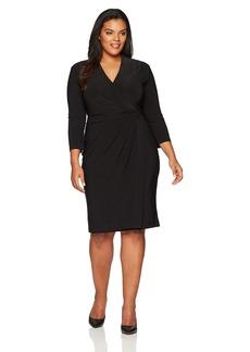 Anne Klein Women's Plus Size Solid Ity V Neck Wrap Dress  1X