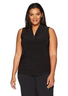 Anne Klein Women's Plus Size Solid Triple Pleat Neck Blouse