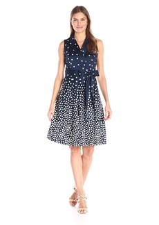 Anne Klein Women's Polka Dot Notch-Collar Wrap-Front Dress with Full Skirt