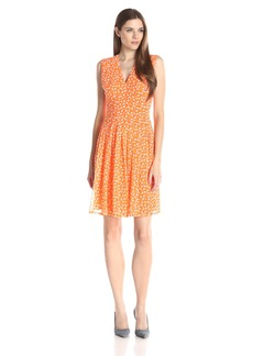 Anne Klein Women's Polka Dot V Neck Flare Dress