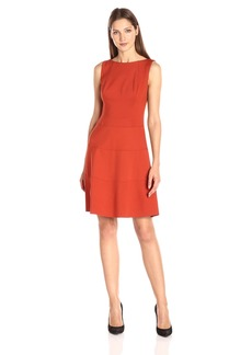 Anne Klein Women's Ponte Boat Neck Dropped Waist Dress