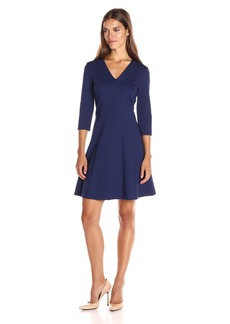 Anne Klein Women's Ponte V Neck 3/4 Sleeve Dress
