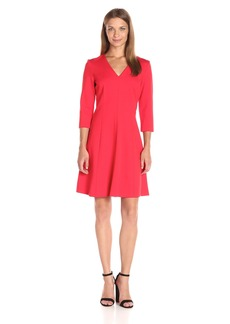 Anne Klein Women's Ponte V-Neck 3/4 Sleeve Dress