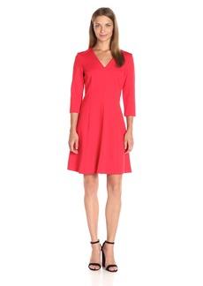 Anne Klein Women's Ponte V-Neck 3/4 Sleeve Dress