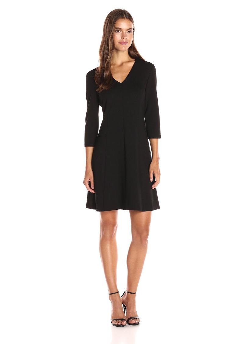 Anne Klein Women's Ponte Vneck 3/4 Sleeve Dress