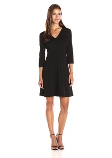 Anne Klein Women's Ponte Vneck 3 / 4 Sleeve Dress