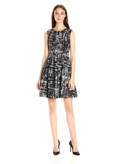 Anne Klein Women's Princted Scuba Veritcal Seamed Dress