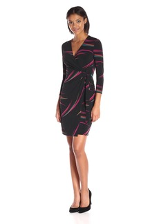 Anne Klein Women's Print Faux Wrap Dress