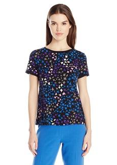 Anne Klein Women's Short-Sleeve Button-Back Top  S