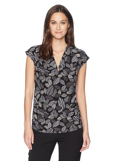 Anne Klein Women's Printed Cap Sleeve V-Neck Top  M