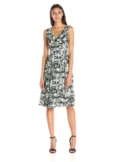 Anne Klein Women's Printed CDC Double Pleat Midi Dress