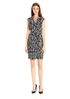 Anne Klein Women's Printed Cdc Draped Dress