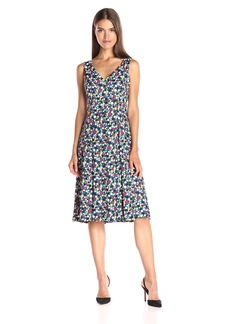 Anne Klein Women's Printed Cdc Vneck Double Pleat Midi Dress