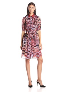 Anne Klein Women's Printed Chiffon Shirt Collar Dress