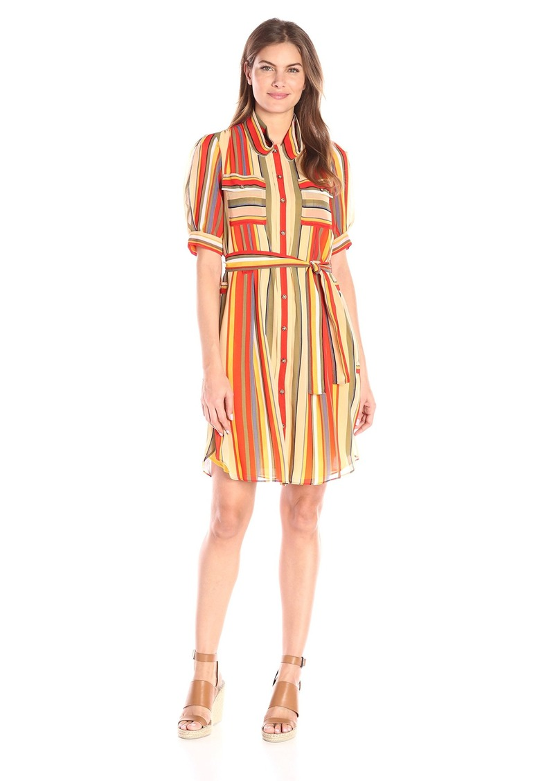 Anne Klein Women's Printed Chiffon Shirt Dress