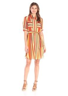 Anne Klein Women's Printed Chiffon Shirt Dress