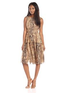 Anne Klein Women's Printed Chiffon Sleeveless Dress with Teired Gathered Skirt
