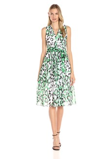 Anne Klein Women's Printed Chiffon V-Neck Midi Dress