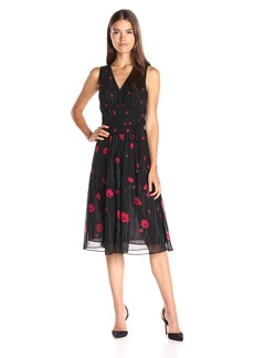Anne Klein Women's Printed Chiffon Vneck Midi Dress