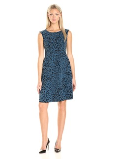 Anne Klein Women's Crepe Animal Printed Dropped Waist Dress