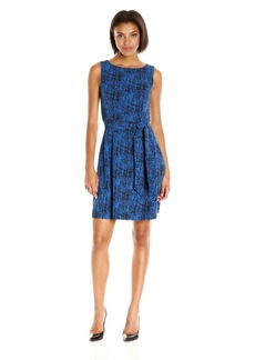Anne Klein Women's Printed Crepe Belted Fit and Flare