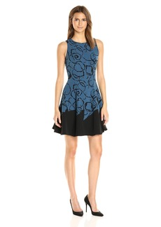 Anne Klein Women's Printed Crepe/ Solid Hem Seamed Fit and Flare Dress