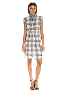 Anne Klein Women's Printed Georgette Flutter Sleeve Dress