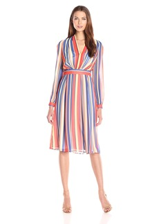 Anne Klein Women's Printed Ggt Long-Sleeve V-Neck Dress