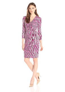 Anne Klein Women's Printed Jersey Draped Dress