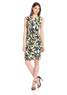 Anne Klein Women's Printed Matte Jersey Side Twist Pleat Dress