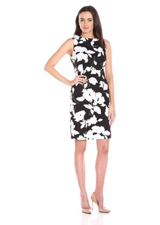 Anne Klein Women's Printed Pique Roll Neck Sheath Dress