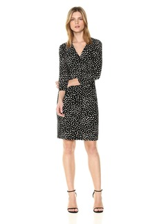 Anne Klein Women's Printed Ruched WRAP Front Dress