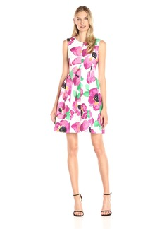 Anne Klein Women's Printed Scuba Seamed Fit-And-Flare Dress