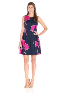 Anne Klein Women's Printed Scuba Seamed Fit and Flare Dress