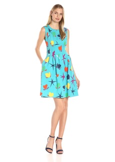 Anne Klein Women's Printed Scuba Vertical Seamed Fit and Flare Dress