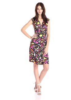 Anne Klein Women's Printed Side Twist Draped Dress