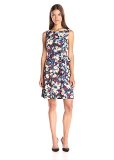 Anne Klein Women's Printed Textured Cotton Boat Neck Fit and Flare Dress