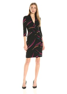 Anne Klein Women's Printed Vneck Draped Dress