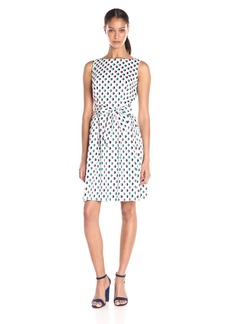 Anne Klein Women's Pritned Cotton Fit and Flare Dress with Self Sash