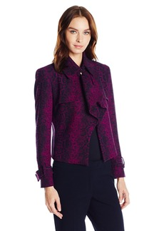 Anne Klein Women's Reptile Jacquard Short Trench Jacket