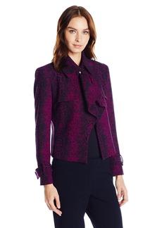 Anne Klein Women's Reptile Jacquard Short Trench Jacket