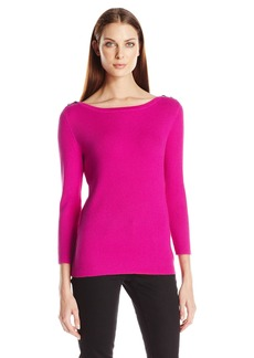 Anne Klein Women's Ribbed Sweater with Shoulder Detail