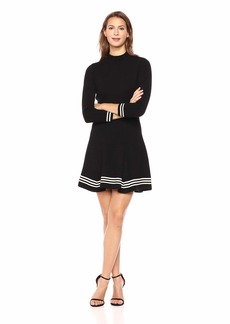 Anne Klein Women's Ruffle Mock Neck FIT and Flare Sweater Dress  L