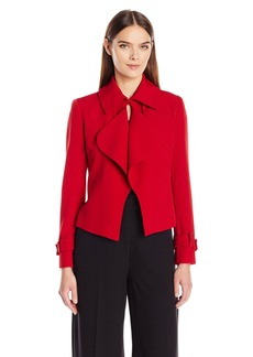 Anne Klein Women's Ruffle Short Trench Jacket titian Red