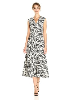 Anne Klein Women's Seamed Midi Vneck Fit and Flare
