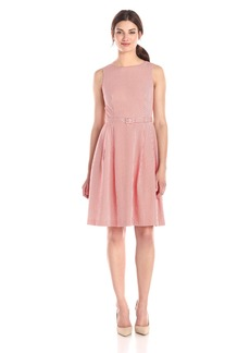 Anne Klein Women's Seersucker Boat Neck Fit and Flare Belted Dress