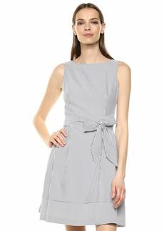 Anne Klein Women's Seersucker FIT & Flare Dress Moon Grey/White