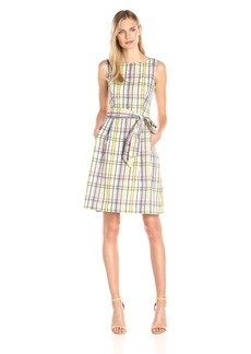 Anne Klein Women's Seersucker Plaid Boat Neck Fit and Flare Dress with Belt